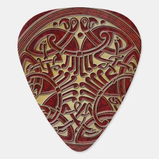 ケルト結び目模様の赤及び金ゴールドの鳥-ギターPic ギターピック