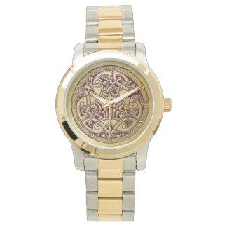 ケルト結び目模様の金ゴールドの鳥及び赤腕時計 腕時計