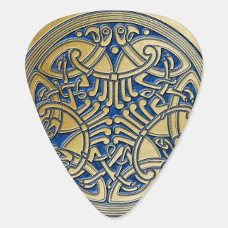 ケルト結び目模様の青及び金ゴールドの鳥の2ギターPic ギターピック