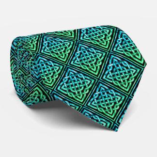 ケルト結び目模様-ダイヤモンドの青緑 ネクタイ