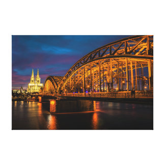 ケルン、ドイツ夜景色 キャンバスプリント