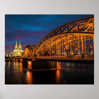 ケルン、ドイツ夜景色 ポスター