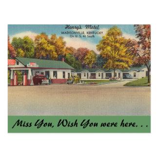 ケンタッキーのヘンリーのモーテル、Madisonville 葉書き