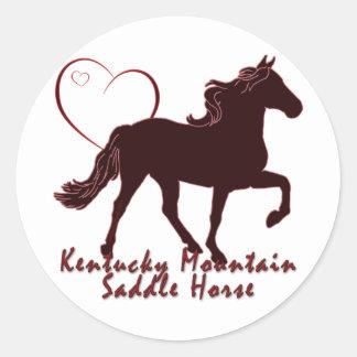 ケンタッキー山の乗用馬のハート ラウンドシール