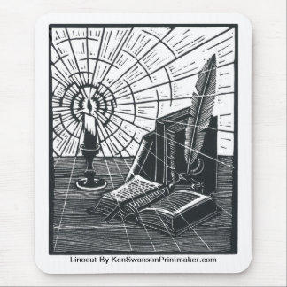 ケンSwanson著本そして蝋燭のLinocut マウスパッド
