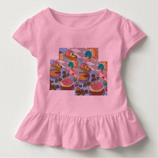 ケーキが付いているピンクの幼児のひだのティー! 2-6Tを大きさで分類します トドラーTシャツ