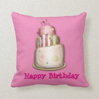 """ケーキが付いているピンクの""""ハッピーバースデー""""の枕 クッション"""