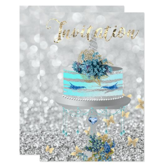 ケーキのユニコーンのパーティーのグリッターは青い銀製灰色を打ちます カード
