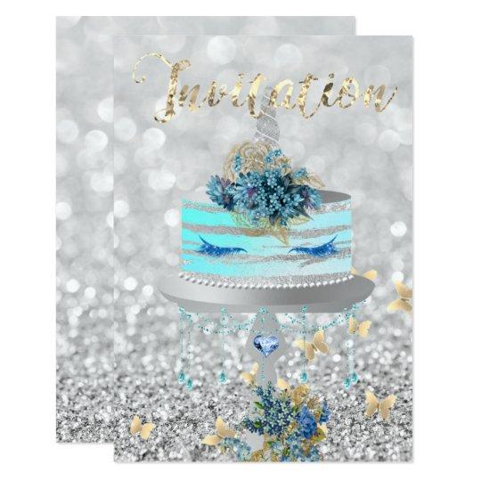 ケーキのユニコーンのパーティーのグリッターは青い銀製灰色を打ちます 8.9 X 12.7 インビテーションカード