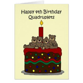 ケーキの第4誕生日のクォード カード