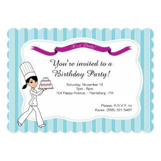 ケーキを持つ誕生日のパーティの招待状 カード