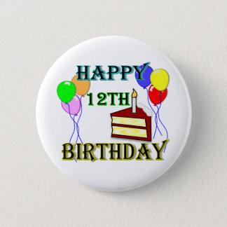 ケーキ、気球および蝋燭との幸せな第12誕生日 5.7CM 丸型バッジ