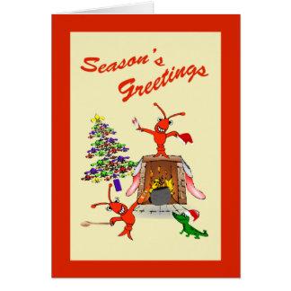 ケージャンのCrawfishのオクラのクリスマス カード