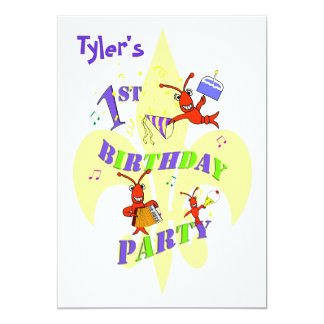 ケージャンのCrawfishの第1誕生日のパーティの招待状 カード