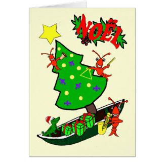 ケージャンのCrawfishのNoelのクリスマス カード