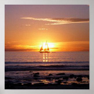 ケーブルのビーチの日没 ポスター
