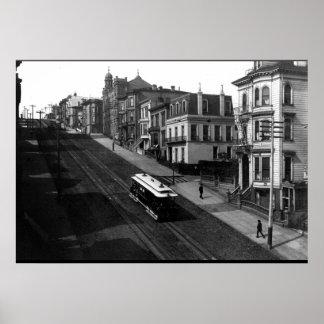 ケーブル・カー1901年が付いているサンフランシスコの通り ポスター