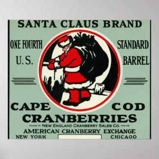 ケープコッドのサンタクロースのブランドのクランベリーのラベル ポスター
