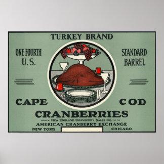 ケープコッドのトルコのブランドのクランベリーのラベル ポスター