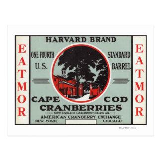 ケープコッドのハーバードEatmorクランベリーのブランド ポストカード