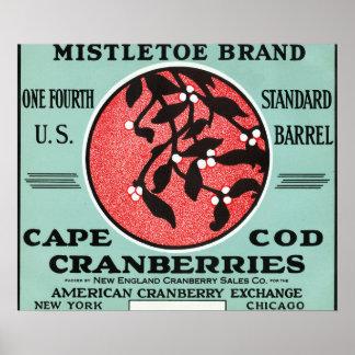 ケープコッドのヤドリギのブランドのクランベリーのラベル ポスター