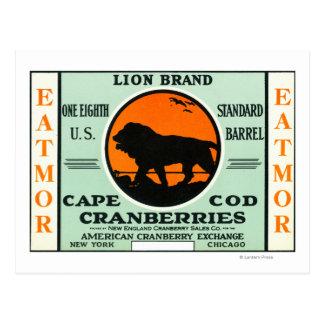 ケープコッドのライオンのEatmorのクランベリーのブランド・ラベル ポストカード