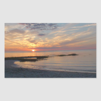 ケープコッドの写真のステッカー上の顕著な日没 長方形シール