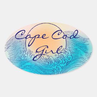 ケープコッドの女の子の楕円形のステッカー(シート1枚あたりの4) 楕円形シール