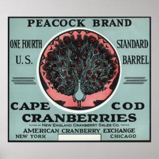 ケープコッドの孔雀のブランドのクランベリーのラベル ポスター