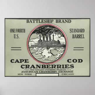 ケープコッドの戦艦のブランドのクランベリーのラベル ポスター