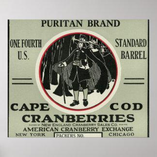 ケープコッドの清教徒のブランドのクランベリーのラベル ポスター