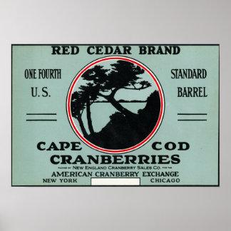 ケープコッドの赤いヒマラヤスギのブランドのクランベリーのラベル ポスター