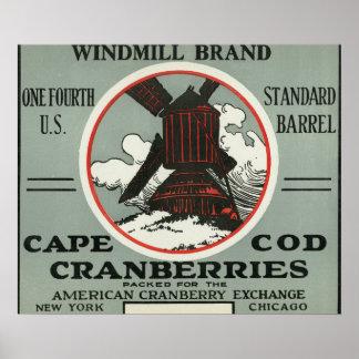 ケープコッドの風車のブランドのクランベリーのラベル ポスター