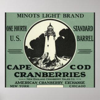 ケープコッドのMinotsの軽いブランドのクランベリーのラベル ポスター