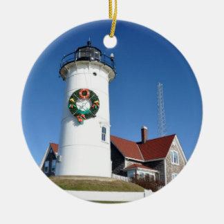 ケープコッドのNobskaの灯台オーナメント セラミックオーナメント