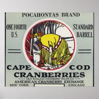 ケープコッドのPocahontasのブランドのクランベリーのラベル ポスター
