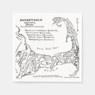 ケープコッド(1890年)のヴィンテージの地図 スタンダードカクテルナプキン