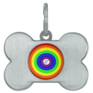 ゲイの男性の円形の虹のペットタグ ペットネームタグ