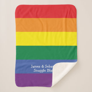 ゲイプライドのあなた自身の名前入りな虹を作って下さい シェルパブランケット