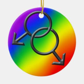 ゲイプライドのオーナメントの名前入りな虹愛ギフト セラミックオーナメント