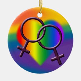 ゲイプライドのオーナメントの女性同性愛者の愛装飾 セラミックオーナメント