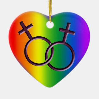 ゲイプライドのオーナメント名前入りなレズビアン愛ギフト セラミックオーナメント