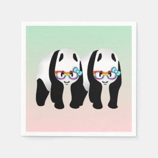 ゲイプライドのヒップスターのパンダ スタンダードカクテルナプキン