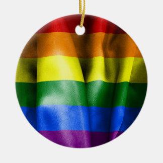 ゲイプライドの旗の陶磁器の円形のクリスマスのオーナメント セラミックオーナメント