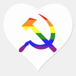 ゲイプライドの虹のソビエトソ連国旗 ハートシール