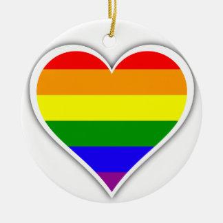 ゲイプライドの虹のハート セラミックオーナメント