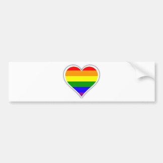 ゲイプライドの虹のハート バンパーステッカー