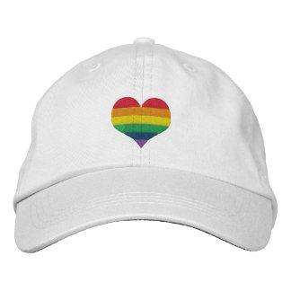ゲイプライドの虹のハート 刺繍入りキャップ