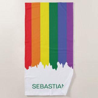 ゲイプライドの虹のペンキ ビーチタオル