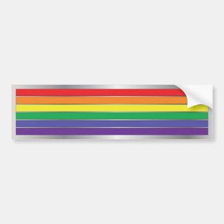 ゲイプライドの虹の旗色 バンパーステッカー